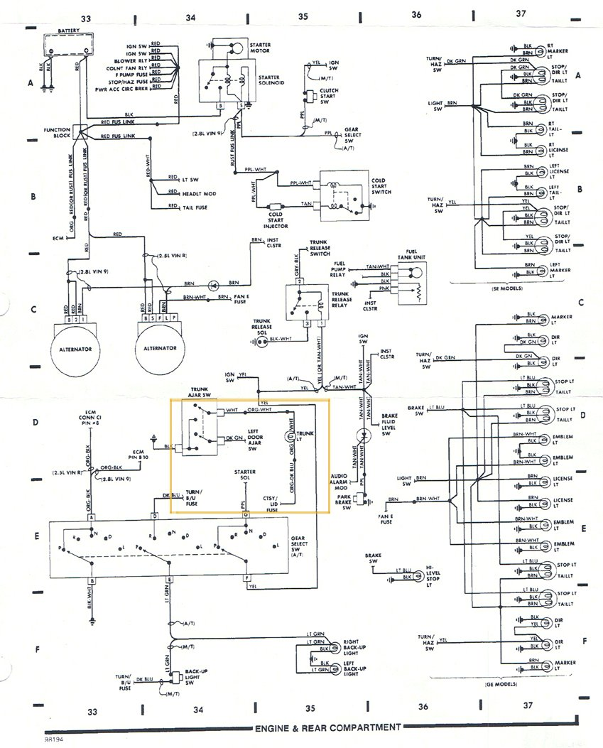tailight wiring diagram pennock s fiero forum rh fiero nl 1987 pontiac fiero wiring diagram 1987 pontiac fiero wiring diagram